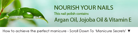 This light blue polish contains Argan oil, Jojoba Oil and Vitamin E, to nourish your nails