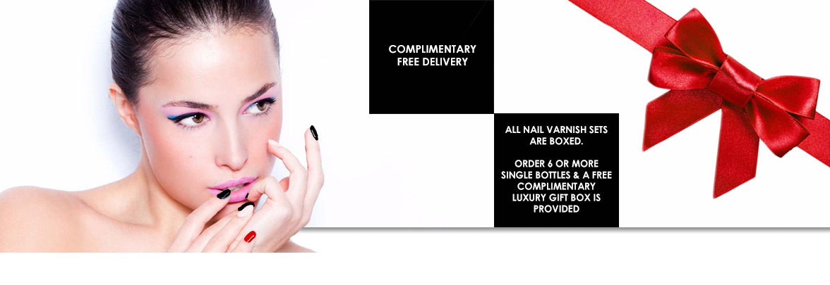 Complimentary delivery of all nail polishes is available. Order 6 or more individual nail polishes and we will package your order in a luxury JACAVA London gift box